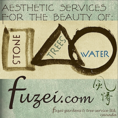 Square Triangle Circle for stone trees and water services banner for identifying the quality of elegance: fuzei